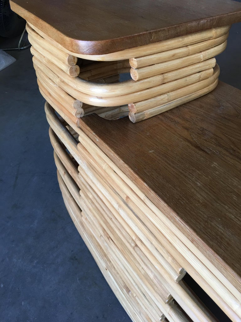 Paul Frankl-Style Stacked Rattan Side Tables with Mahogany Top, Pair, circa 1930 For Sale 4