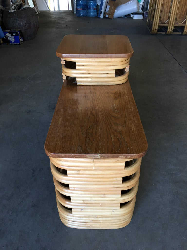 Paul Frankl-Style Stacked Rattan Side Tables with Mahogany Top, Pair, circa 1930 In Excellent Condition For Sale In Van Nuys, CA