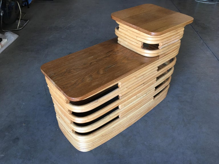 Mid-20th Century Paul Frankl-Style Stacked Rattan Side Tables with Mahogany Top, Pair, circa 1930 For Sale