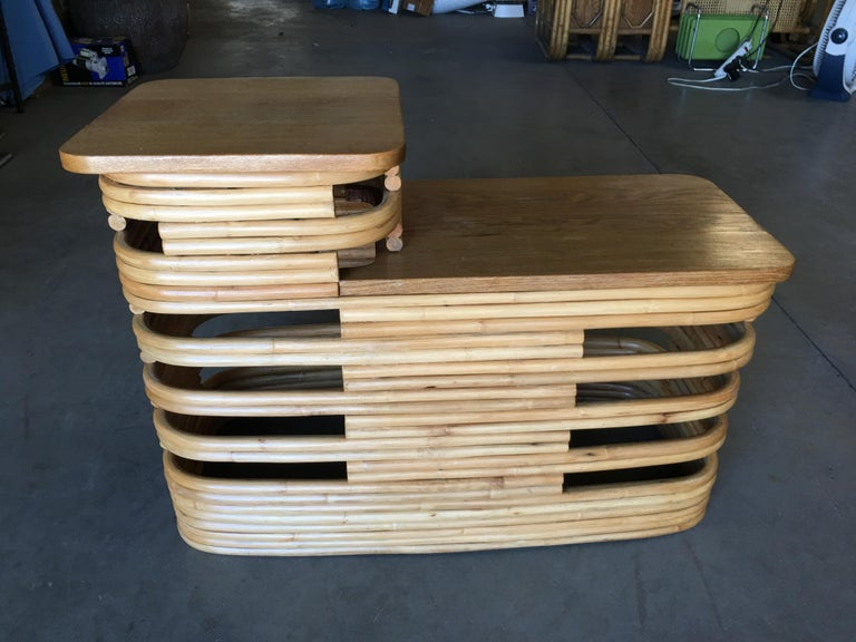 Paul Frankl-Style Stacked Rattan Side Tables with Mahogany Top, Pair, circa 1930 For Sale 2