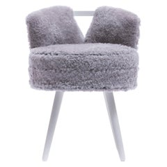 Paul Frankl Style Vanity Stool Upholstered in Shearling