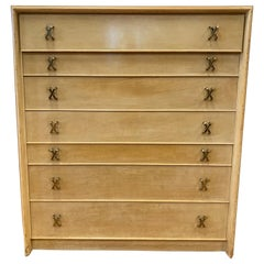 Paul Frankl Tall Dresser High Chest of Drawers with X-Pulls
