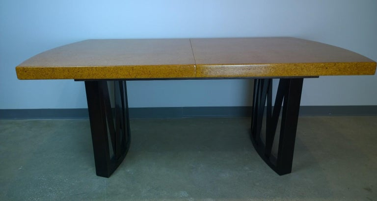 Paul Frankl Tan or Brown Cork Top and Carved Mahogany Wood Base Dining Table In Good Condition For Sale In Houston, TX