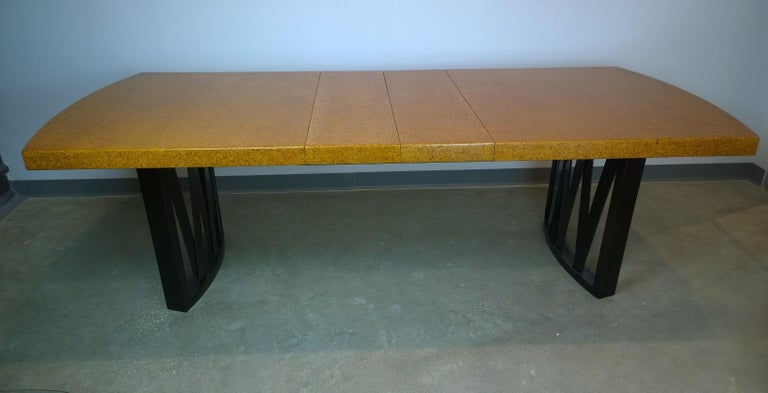 American Paul Frankl Tan or Brown Cork Top and Carved Mahogany Wood Base Dining Table For Sale