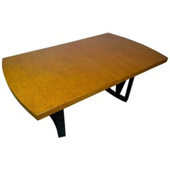 Paul Frankl Tan or Brown Cork Top and Carved Mahogany Wood Base Dining Table