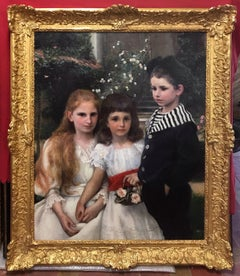 Portrait of Three Children in the Garden- original painting 19th Century
