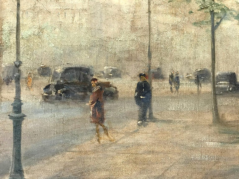 This piece is an exceptional impressionistic cityscape scene by Paul Gagni of L Arc de Triomphe. Wth flower vendors along the sidewalk, pedestrians, and cars, we are drawn into this wonderful Parisian scene effortlessly. This Paris scene is depicted