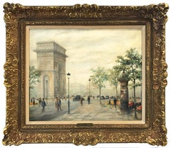 """L Arc de Triomphe"" 20th Century Parisian City Scape French Oil Painting Canvas"