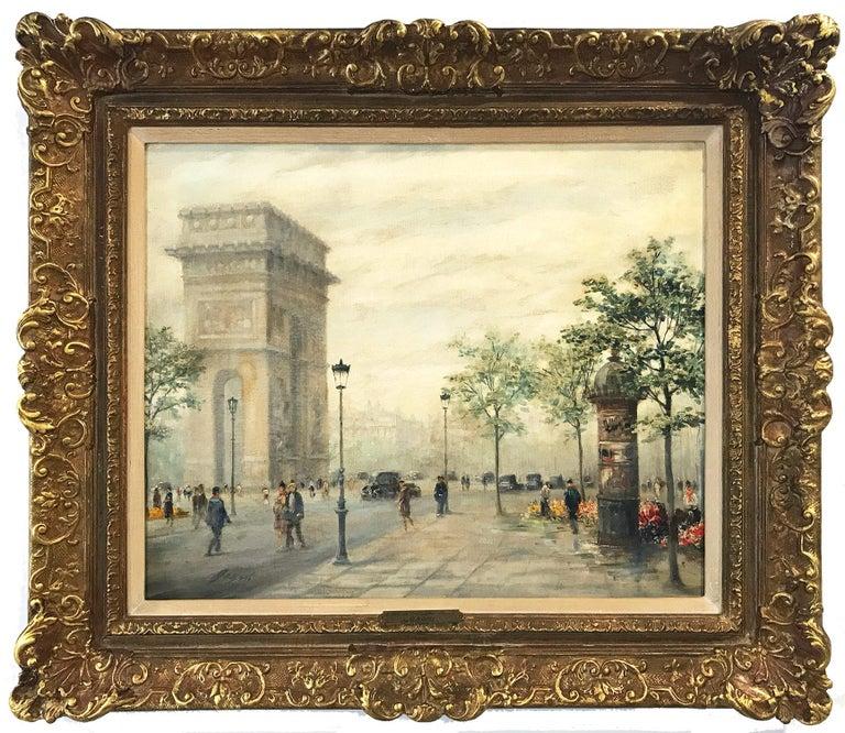 """Paul Gagni Landscape Painting - """"L Arc de Triomphe"""" 20th Century Parisian City Scape French Oil Painting Canvas"""