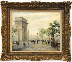 """""""L'Arc de Triomphe, Paris"""" 20th Century Parisian City Scape French Oil Painting"""