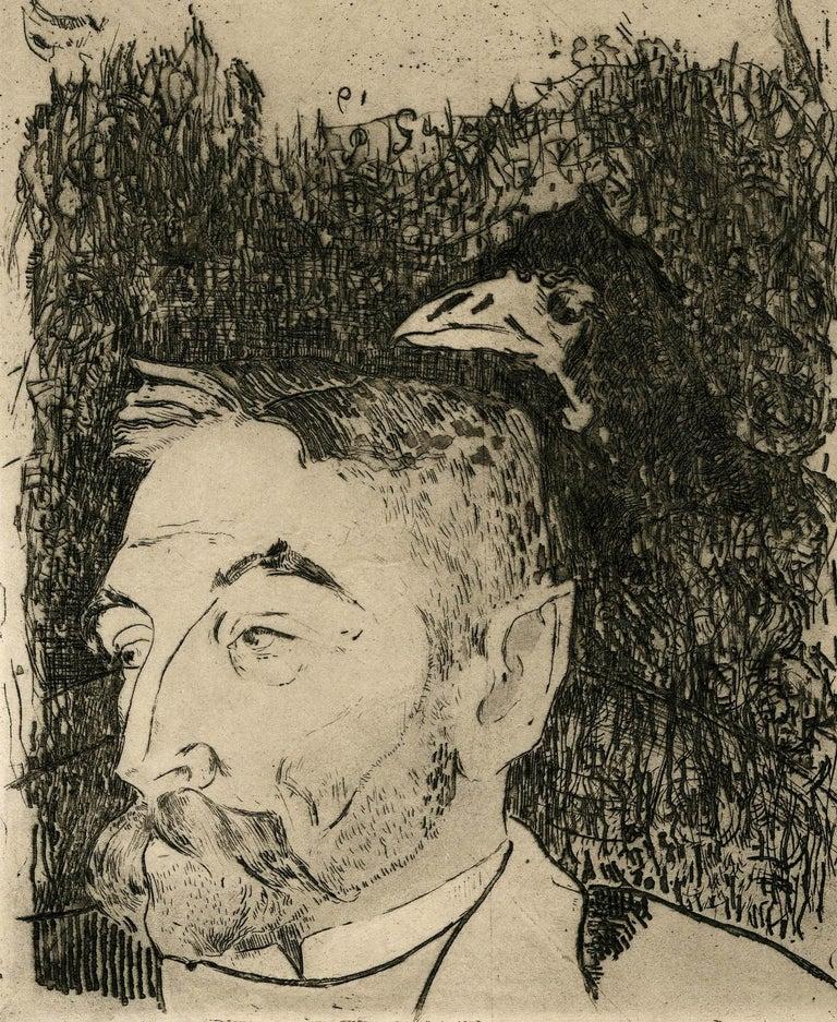 Portrait of Stephane Mallarme - Beige Portrait Print by Paul Gauguin