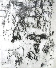 Studies of Horses - Original Monotype by Paul Gauguin - 1901/2
