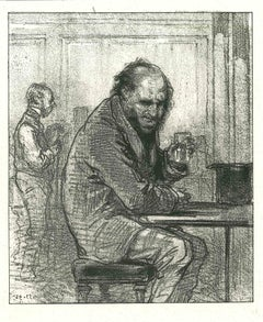 A Man with Whisky - Original Lithograph after Paul Gavarni - 1881