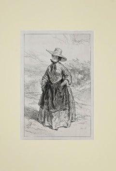 Bourgeoisie - Original Lithograph and Pouchoir by Paul Gavarni - 19th Century