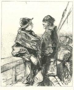 Fishermen - Original Lithograph after Paul Gavarni - 1881