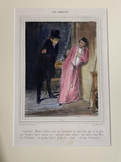 Les Lorettes - Original Lithograph by Paul Gavarni - 19th Century