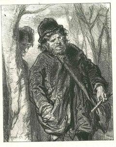 Men in the Wood - Original Lithograph after Paul Gavarni - 1881
