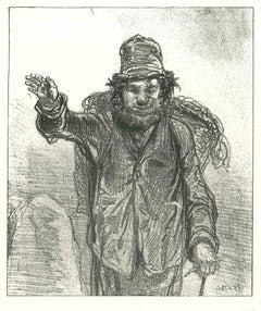 Mountaineer - Original Lithograph after Paul Gavarni - 1881
