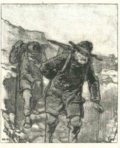 Mountaineers - Original Lithograph after Paul Gavarni - 1881
