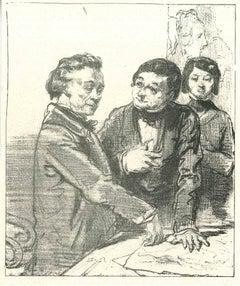 The Convincing - Original Lithograph by Paul Gavarni - 1881
