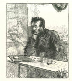 The Pensive Man - Original Lithograph after Paul Gavarni - 1881