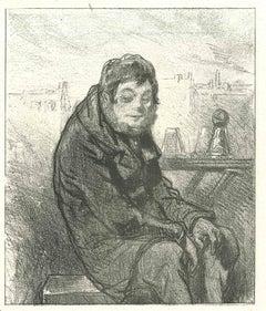 The Solitude - Original Lithograph after Paul Gavarni - 1881