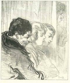 The Waiting Men and Women - Original Lithograph by Paul Gavarni - 1881