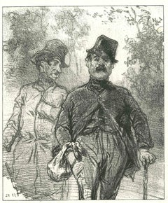 The Walking Men - Original Lithograph by Paul Gavarni - 1881