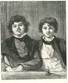 The Young Couple - Original Lithograph by Paul Gavarni - 1881
