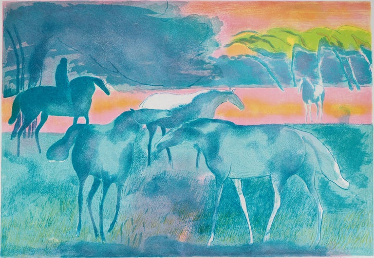 Horses at sunset - Original lithograph, Handsigned - Modern Painting by Paul Guiramand