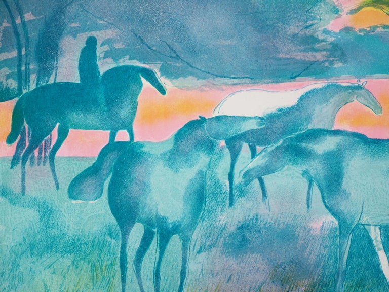Paul Guiramand Horses at sunset  Original lithograph Handsigned in pencil Justified by