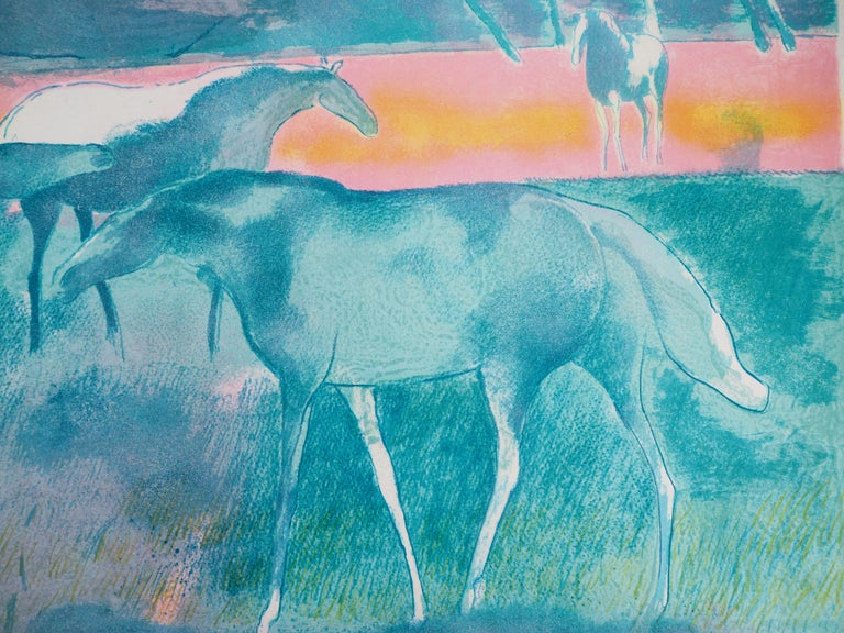Horses at sunset - Original lithograph, Handsigned For Sale 1