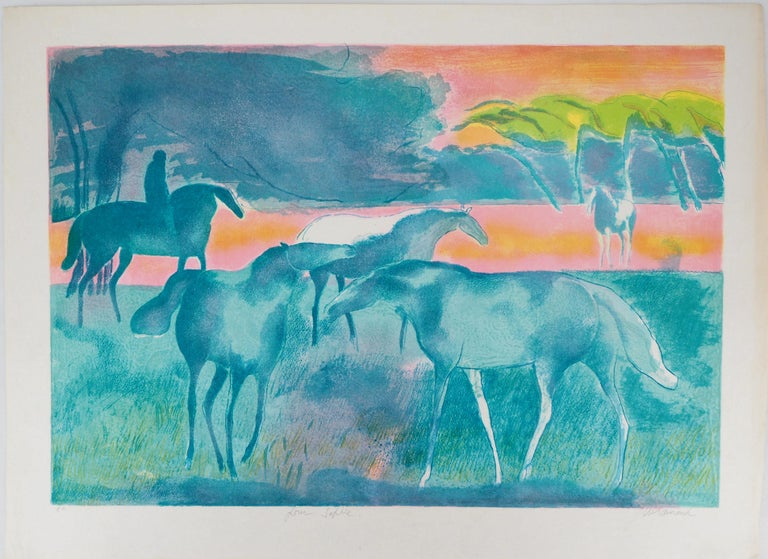 Paul Guiramand Animal Painting - Horses at sunset - Original lithograph, Handsigned