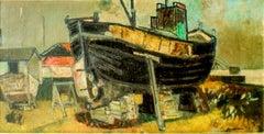 Shipyard - Oil on Canvas by Paul Guiramand - 1955 ca.