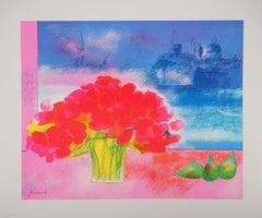 Italy : Venice, San Giorgio with Red Flowers - Original lithograph
