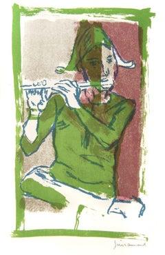 The Minstrel - Original Lithograph by Paul Guiramand