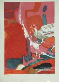 Les Oiseaux - Original Lithograph by Paul Guiramand - 1968