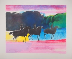 Spring : Three Horse Riders - Original lithograph