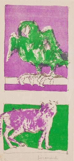 The Cat and the Parrot - Original Lithograph by Paul Guiramand - 1965