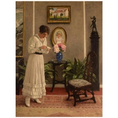 """Paul Gustav Fischer '1860-1934', Denmark, Oil on Canvas, """"The letter"""""""