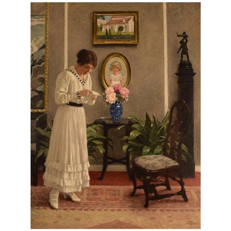 """Paul Gustav Fischer '1860-1934', Denmark, Oil on Canvas, """"The letter"""" For Sale"""