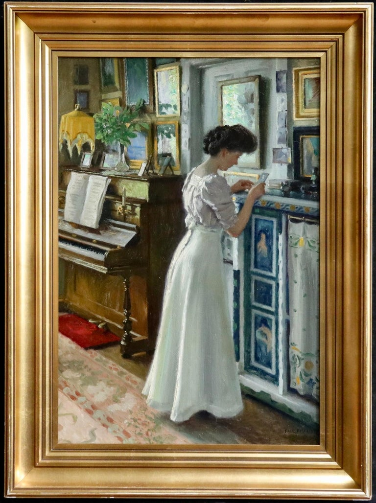 Harriet in the living room at Sofievej - Oil, Woman in Interior by Paul Fischer For Sale 1
