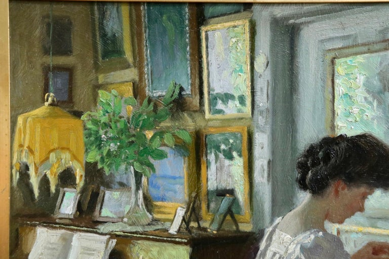 Harriet in the living room at Sofievej - Oil, Woman in Interior by Paul Fischer For Sale 4