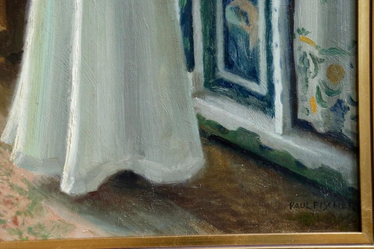 Harriet in the living room at Sofievej - Oil, Woman in Interior by Paul Fischer For Sale 6