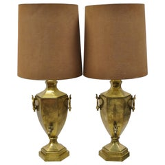 Paul Hanson Burnished Brass Samovar Urn Form Table Lamps with Shades - a Pair