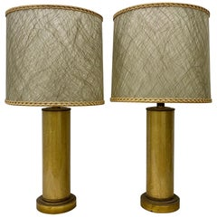 Paul Hanson Crackled 'Foil' Glass Lamps with Original Shades, circa 1950