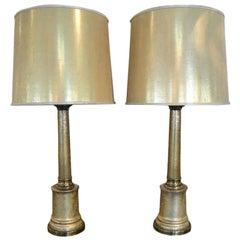 Paul Hanson Gold Crackalure Reverse Glass Table Lamps, a Pair