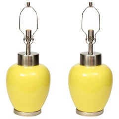 Paul Hanson Lemon Yellow Porcelain Lamps