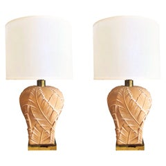 Paul Hanson Tropical Modern Pair of Lamps with Banana Leaves, 1970s