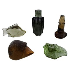 "Paul Hoff for ""Svenskt Glass"", Five Art Glass Figures, Wwf, Mid-20th Century"